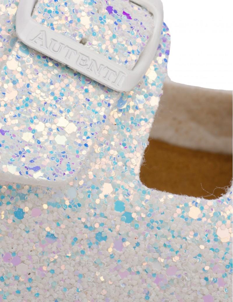Sandalias Glitter Blanco Holográfico