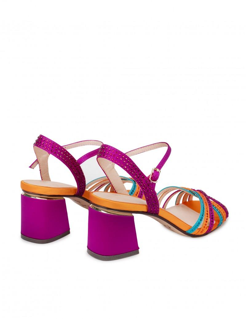 Sandalias Multicolor Tacón