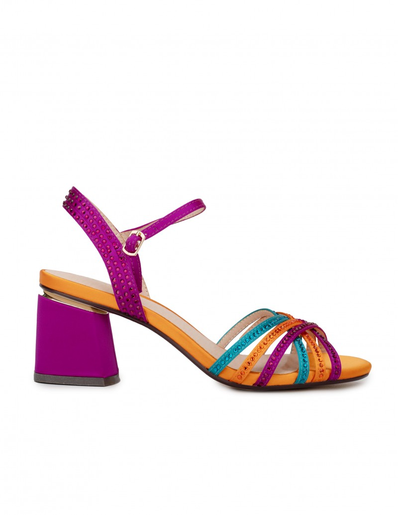 Sandalias Tacón Cuadrado Multicolor