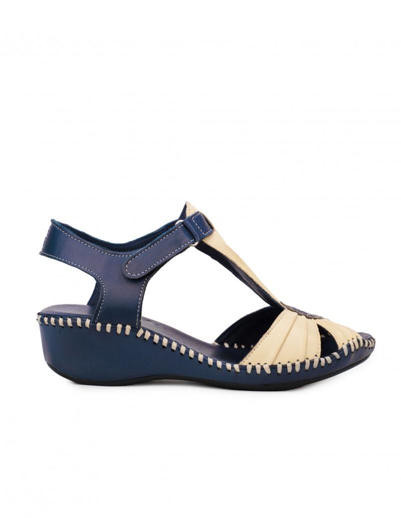 Sandalias Cuña Baja Azul Marino