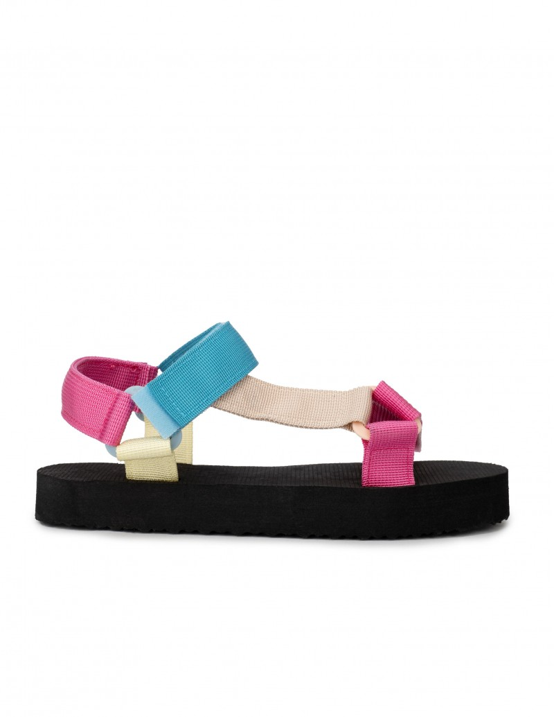 Sandalias Tiras Velcro Planas Multicolor
