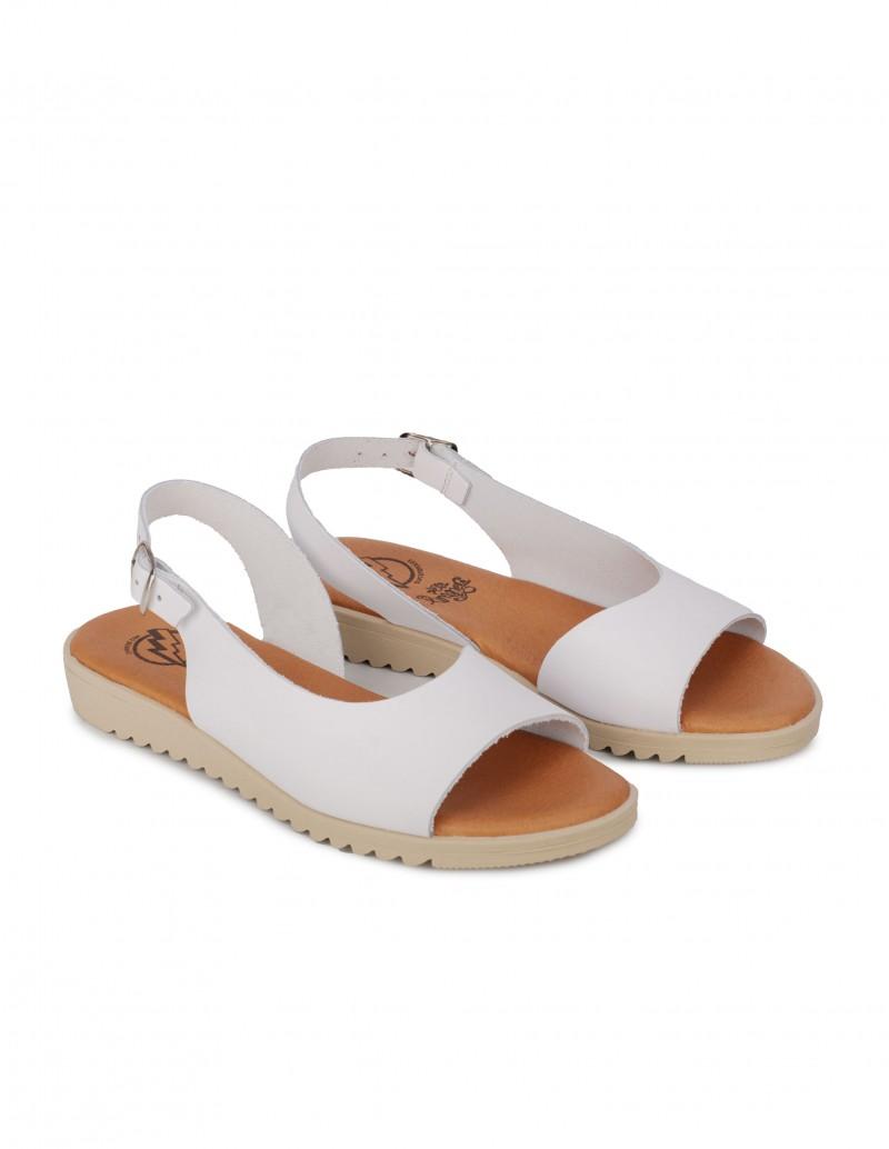 Sandalias Blancas Planas Mujer
