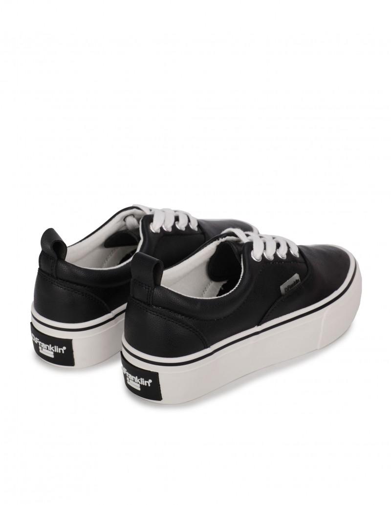 Zapatillas Negras Polipiel Plataforma