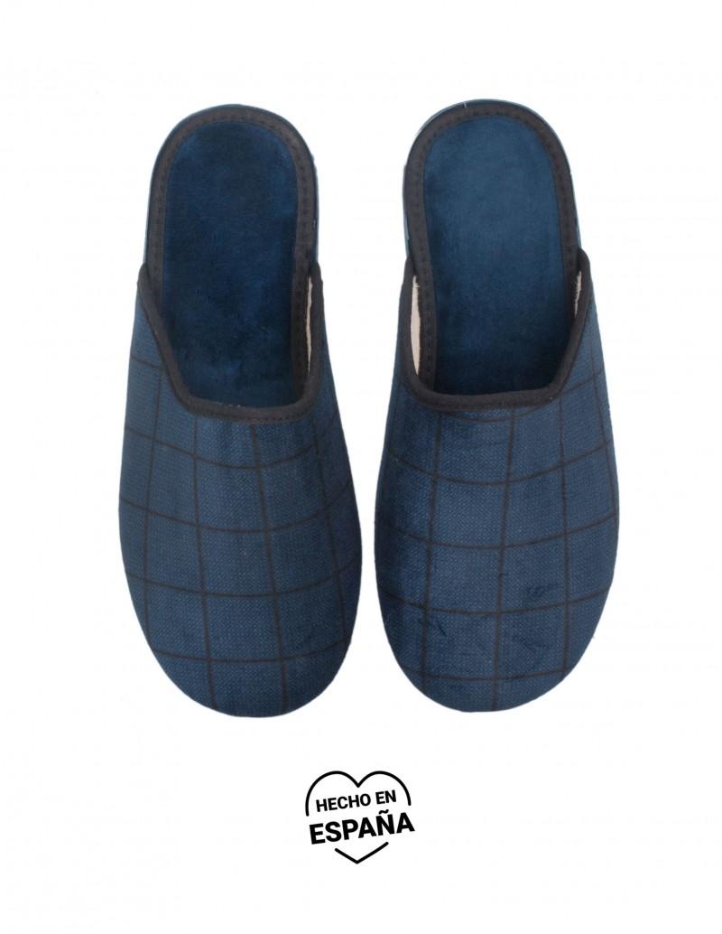 Zapatillas Casa Cuadros Azul Marino
