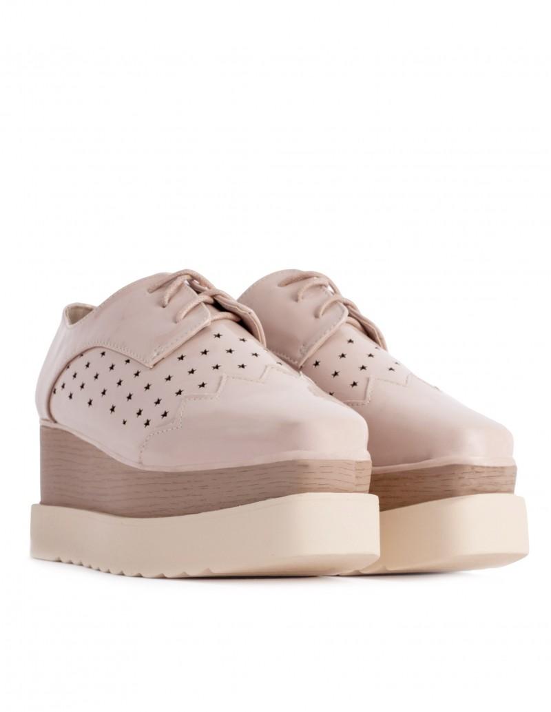 zapatos cordones plataforma madera