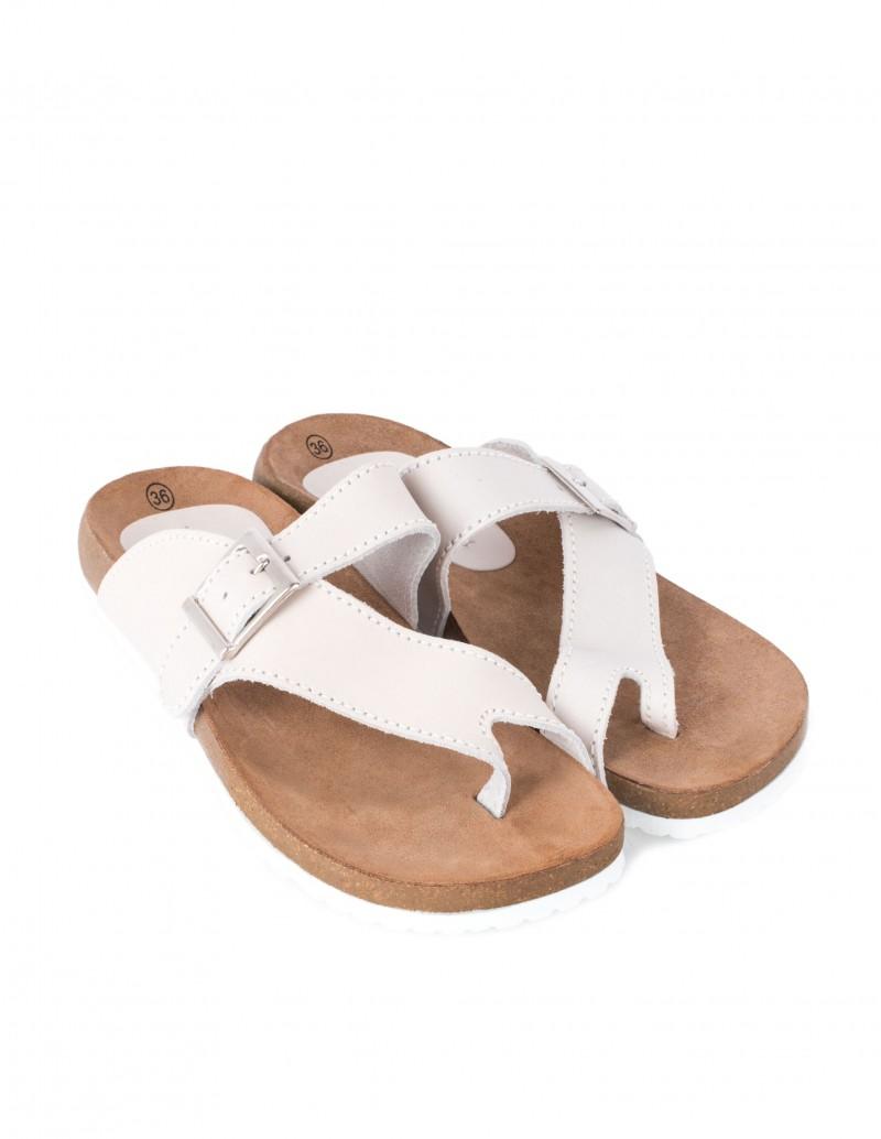 sandalias bio planas piel natural