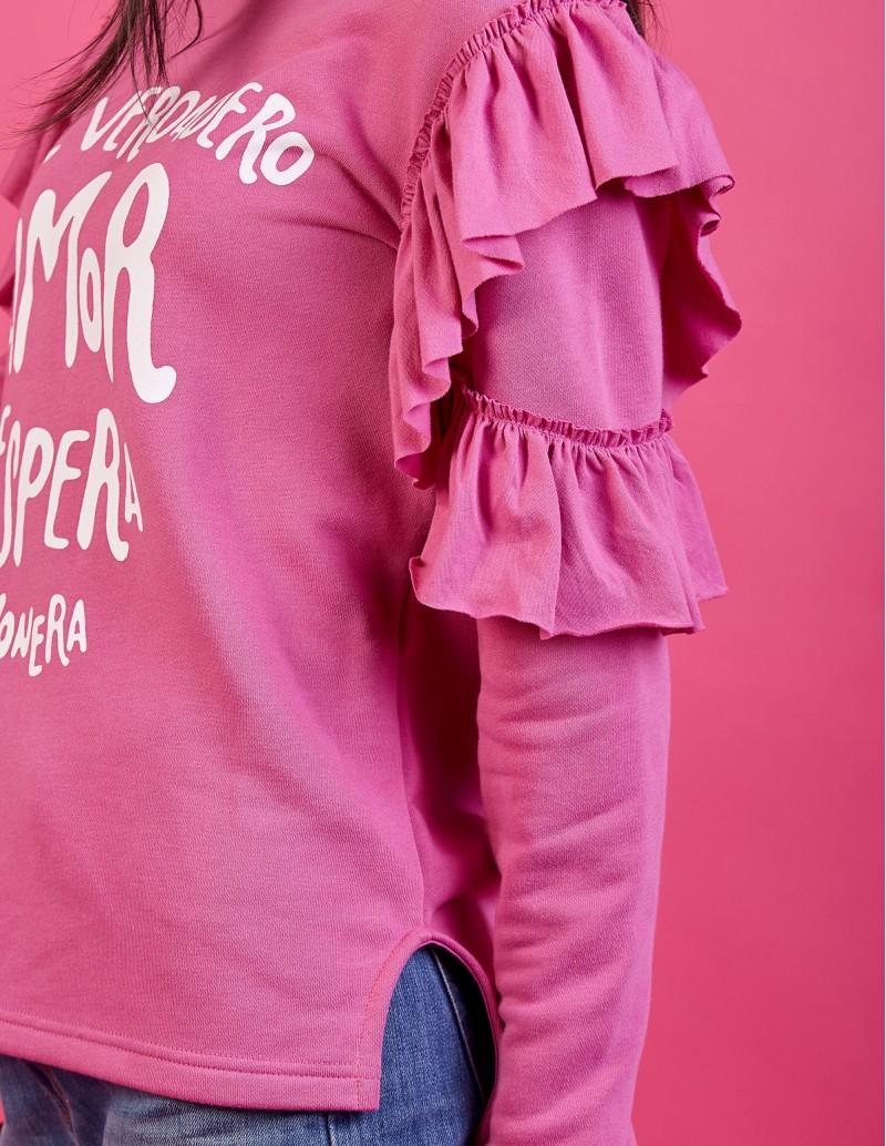 sudadera volantes con mensaje pera limonera rosa
