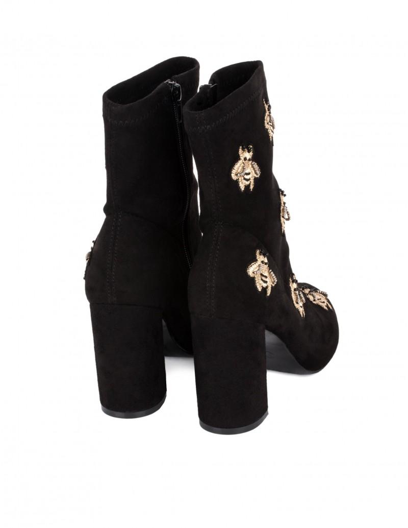 botas terciopelo negro tacon ancho