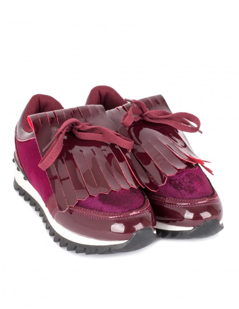 zapatillas deportivas charol burdeos