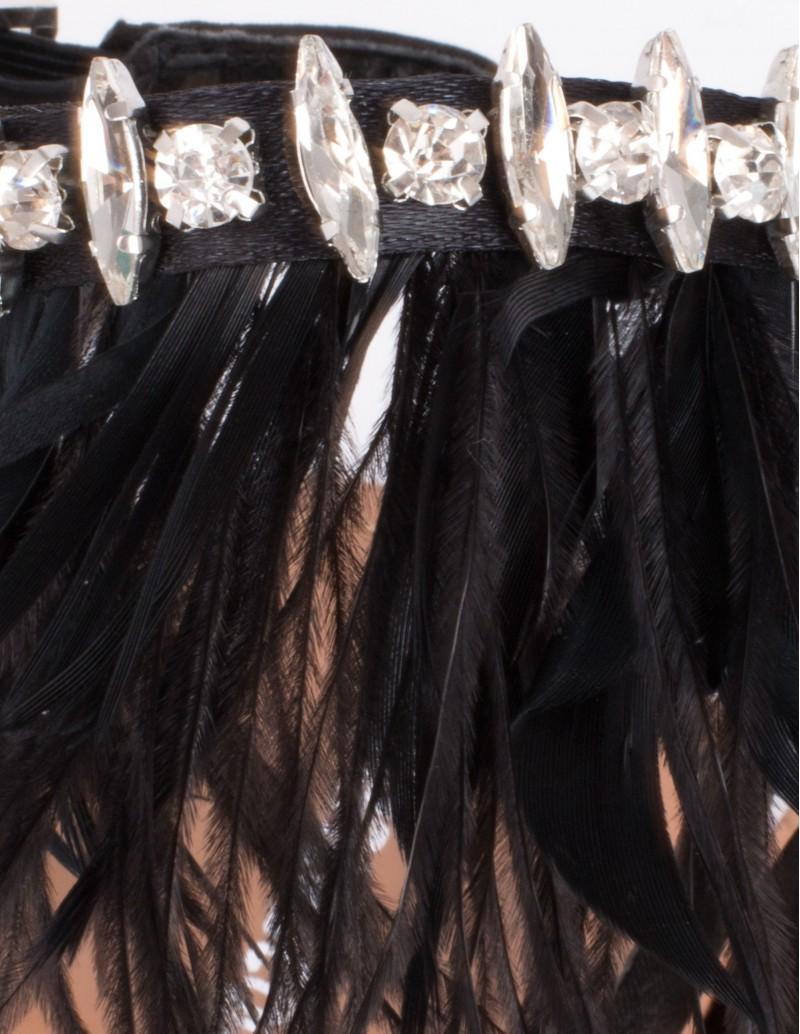 sandalias plumas negras mujer