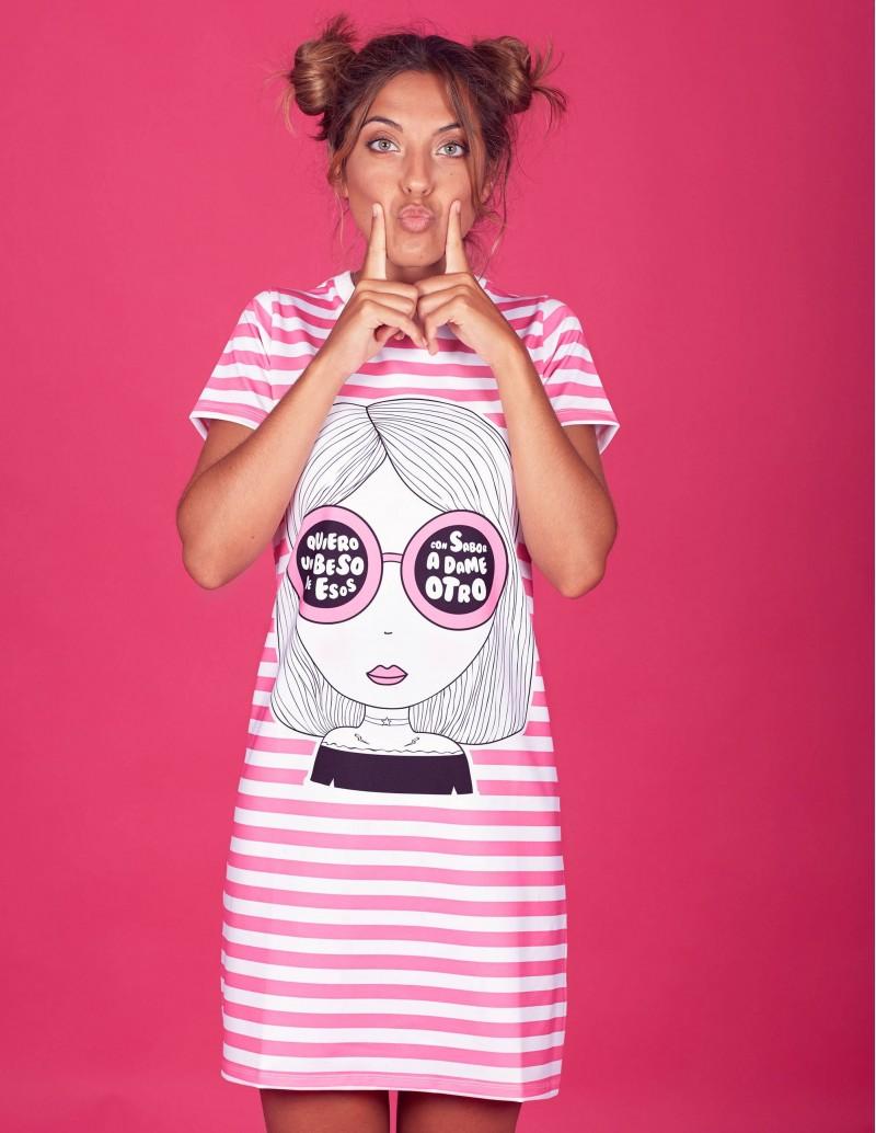 vestido rayas mensaje mujer