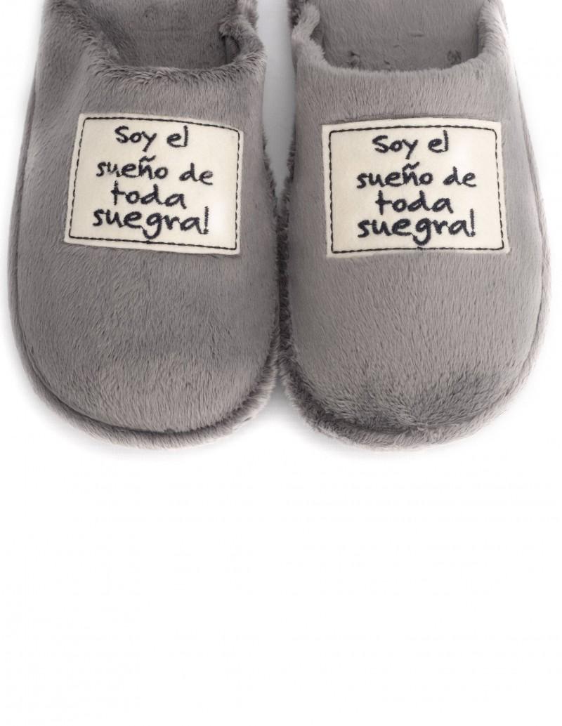 zapatillas casa hombre gris mensaje original