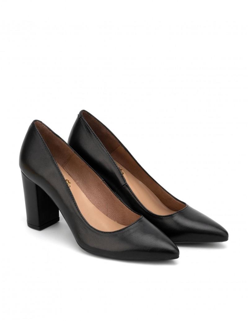 zapatos piel negros tacon cuadrado