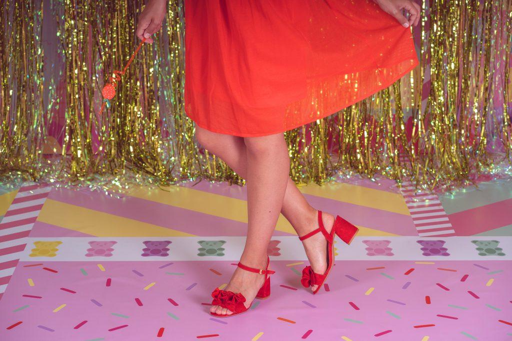 sandalias rojas de fiesta