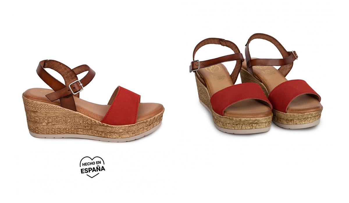 sandalias piel rojas
