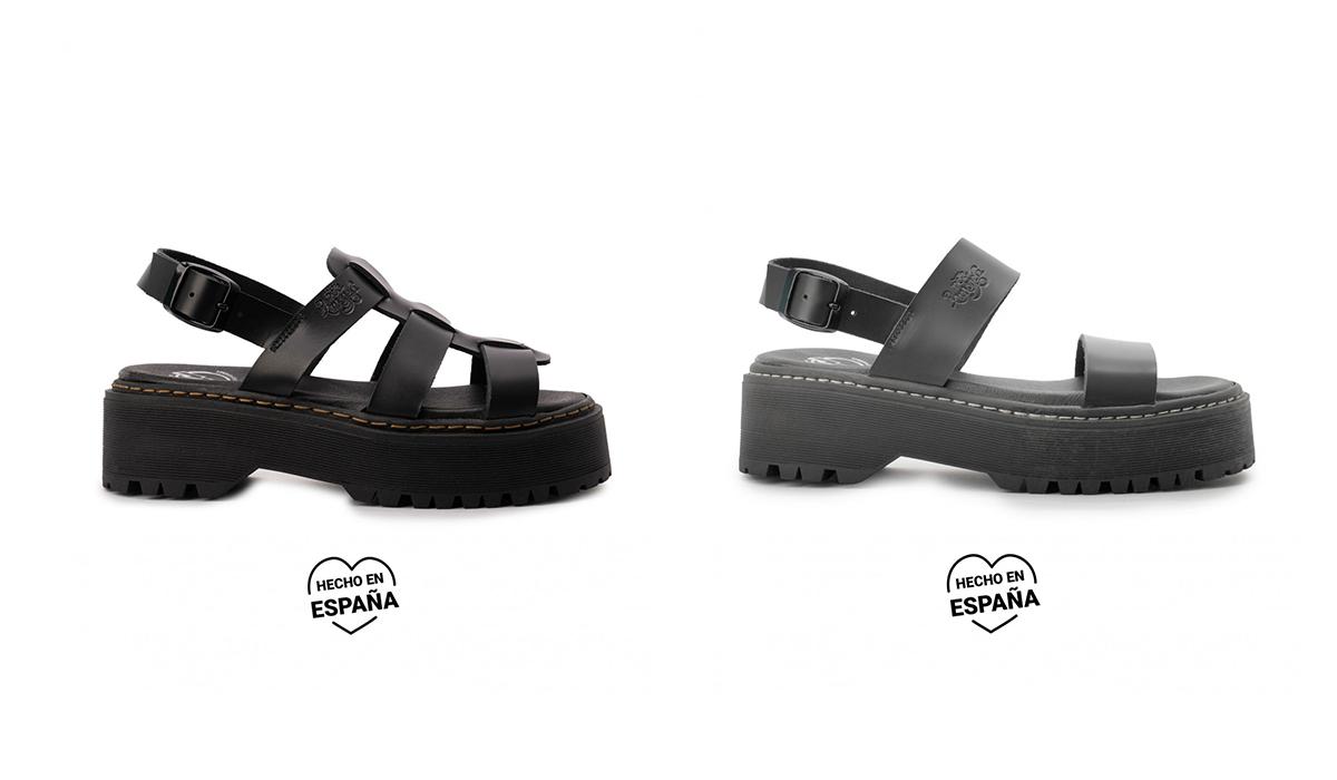 sandalia piel plataforma negras