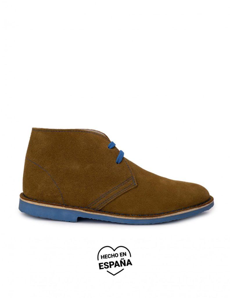 botas safari marrón suela azul