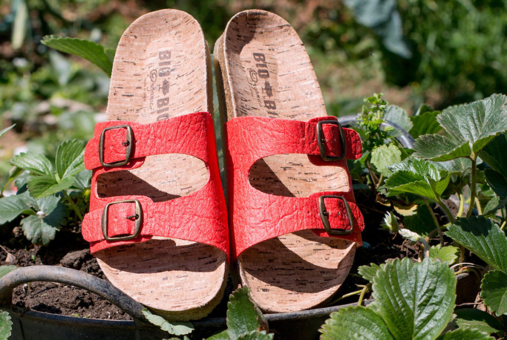 sandalias veganas mujer rojas