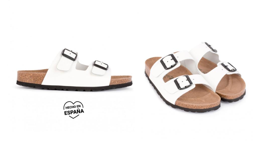 sandalias blancas suela corcho
