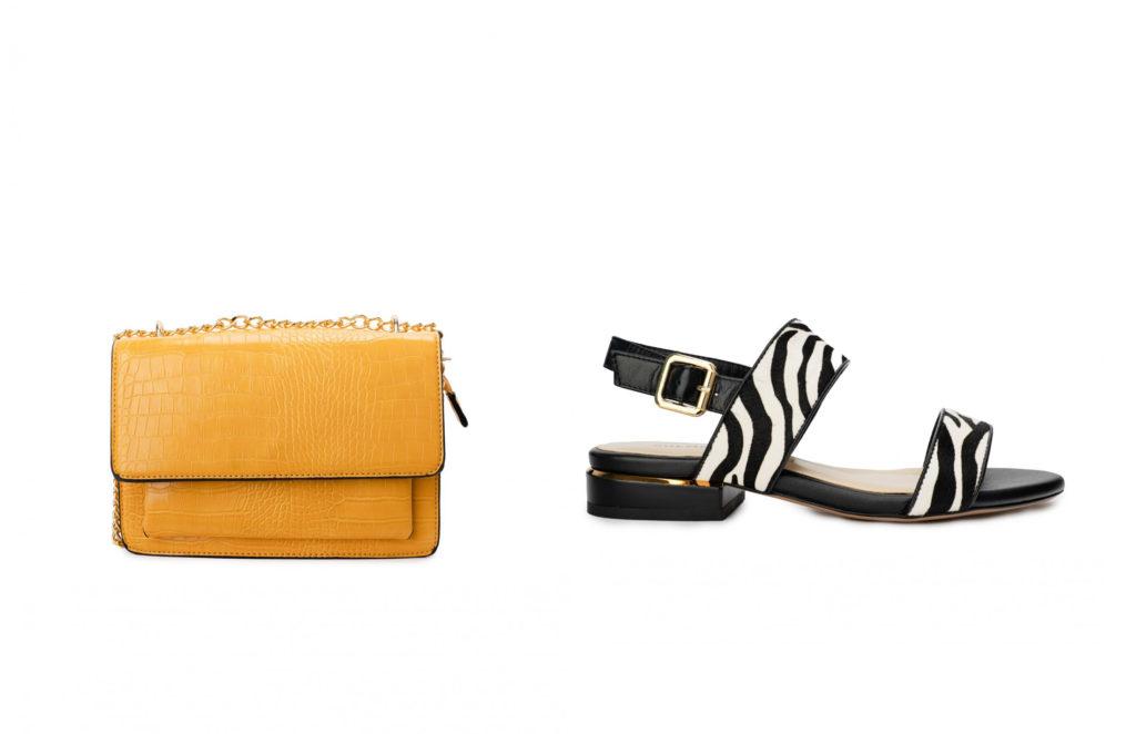 bolso y zapatos diferente color