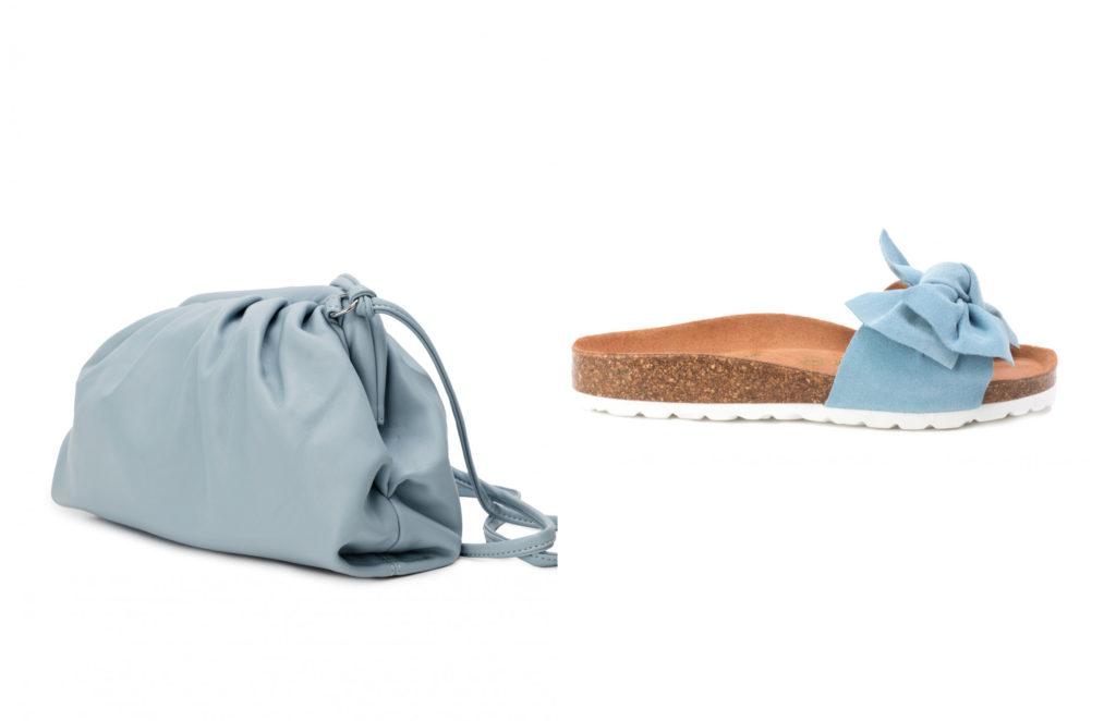 bolso y sandalias azul celeste