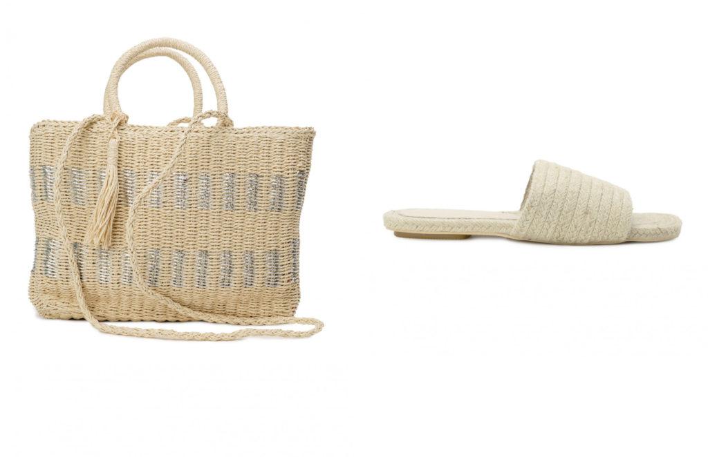 combinar sandalias y bolso para la playa