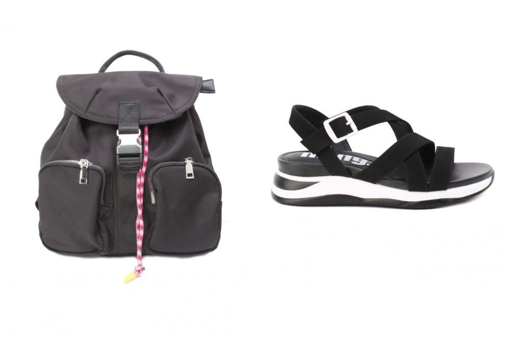 sandalias y bolso estilo deportivo